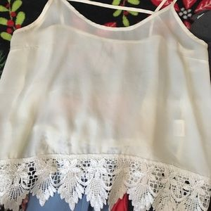 Tops - Sheer Laced Bottom Tank Top